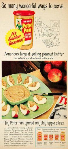 1954 vintage food ad peter pan peanut butter on apple slices