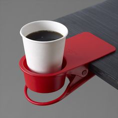 DrinKlip holder- seriously need this for my desk, no more spilled cups! Gadgets And Gizmos, Cool Gadgets, Organize Plastic Containers, Moma Store, Container Organization, Take My Money, I Love Coffee, Coffee Cup, Cool Inventions