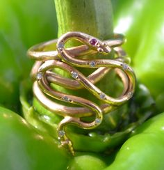 Rose Gold Snake Ring with Diamonds and Ruby, 18k - serpent jewelry, positive energy, good luck charm, snake jewelry. $1,950.00, via Etsy.