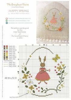 point de croix grille et couleurs de fils lapin fille dans un oeuf de fleurs pour paques, happy eastern