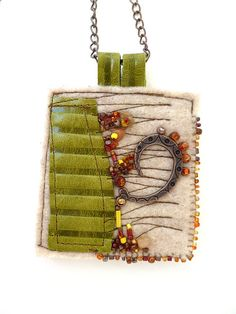 Fragments in beige fiber art necklace featured in Sew by Cesart64                                                                                                                                                                                 More