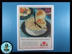Items similar to Campbell's Mushroom Soup Clock, Vintage Mid Century Modern Advertisement, Handmade, Custom Order! on Etsy Campbells Mushroom Soup, Retro Home, Vintage Ads, Vintage Kitchen, Clocks, Mid-century Modern, 1960s, Eye Candy, Stuffed Mushrooms