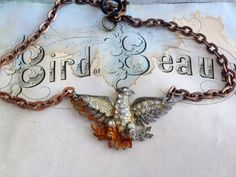 One of a kind antique vintage assembled paste bird by thejunkdiva, $55.00