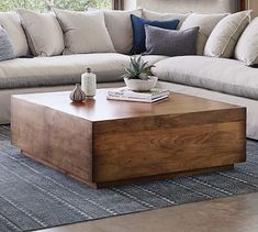 Solidly built using recycled lumber, the Parkview Reclaimed Wood Coffee Table combines rustic appeal with a clean, contemporary design. With a spacious drawer on one side, it's a versatile table that stows everything from pillows to remotes, and i… Coffee Table Pottery Barn, Round Wood Coffee Table, Reclaimed Wood Coffee Table, Diy Coffee Table, Decorating Coffee Tables, Coffee Table Design, Coffee Table For Sectional, Coffee Table Storage, Large Square Coffee Table
