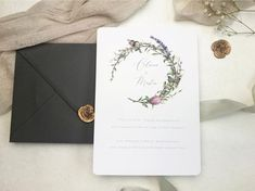 Wedding Invitation // Wild Garden // wild flowers // hand drawn // personalised // bespoke // botanical Wax Seals, Stationery Design, Dahlia, Save The Date, Wild Flowers, Paper Texture, Bespoke, Hand Drawn, Rsvp