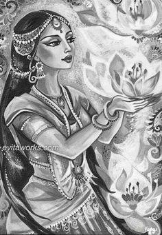 Radha was born because of Krishna's wish Indian Artwork, Indian Folk Art, Indian Paintings, Art Paintings, Tribal Fusion, Art Sketches, Art Drawings, Bd Art, India Art