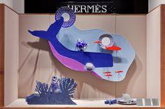 """Emilie Faïf designed the 2016 Fall windows for Hermès France on the new theme """" Nature at full tilt """". Hermès Avenue Georges V Paris. Emilie Faïf réalise les vitrines d'Automne de la Maison Hermès France sur le thème de «La Nature au galop»."""
