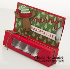 This is one of the cutest gift card holders I have seen. I love the moose, so . - This is one of the cutest gift card holders I have seen. I love the moose, so this one had a huge - Stampin Up Christmas, Christmas Tag, Christmas Projects, Handmade Christmas, Candy Crafts, 3d Paper Crafts, Christmas Gift Card Holders, Xmas Cards, Gift Cards Money