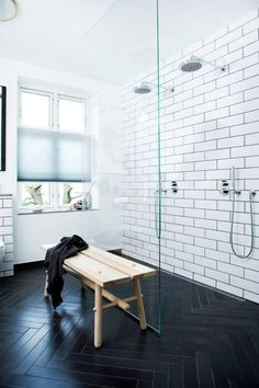 Bathroom , Wall Colors For Bathrooms : White Wall Colors For Bathrooms With Dark Zigzag Floor And Rustic Bench And Walk In Shower With Double Shower Head