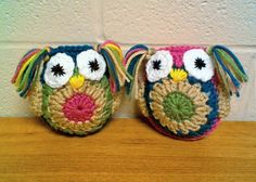 4 ½ inch x 4 ½ inch 11.42 cm x 11.42 cm  These owls are so cute! They are perfect for anyone who collects owls! Surprise someone at work or a college student with a cute little friend for their desk! Each owl is crocheted with care using the double crochet stitch! One is crocheted with green, tan, teal, and pink yarn. The other is crocheted using pink, tan, green, and teal yarn. Each one has 2 big eyes and a yellow nose hand stitched just below the eyes. Each one also, has 2 wings and 2…