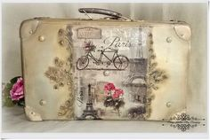 Старый шкаф - Блог - Декупаж: Старый чемодан Старый французский климат - Париж среди рельефов - Декупаж.