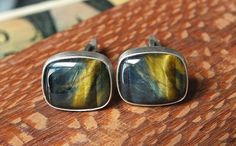 Variegated Tiger Eye Cufflinks Oxidized Sterling by jamesblanchard, $135.00