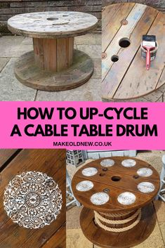 Learn how easily you can upcycle an old electrical cable drum into a lovely patio table. Quick step by step guide to the complete project. Large Wooden Spools, Wooden Spool Tables, Electrical Spools, Electrical Cable, Outdoor Tables, Patio Table, A Table, Cool Woodworking Projects, Wood Projects
