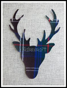 1x 8in Scottish Stag Head,Dark Brown, Tartan,Wool Fabric,Cut Out,Iron/Sew On,Applique 3 by Nairncraft on Etsy