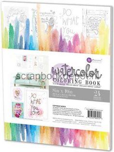 Prima Marketting, watercolor coloring book. 24 vel ongeveer 20,5x25,5cm met designs om in te kleuren met waterverf