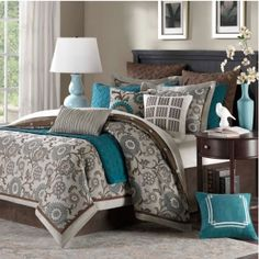 "Hampton Hill Bennett Place Comforter Set. Polyester Jacquard 10-Piece Comforter Set. Teal, chocolate and linen / grey bedroom. ""The filled duvet and standard shams feature edge piping and flanges."""