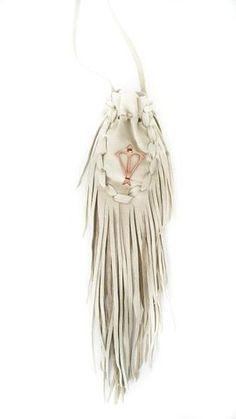 Open Heart Warrior White Leather Sacred Bag Necklace / Medicine Bag