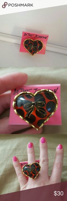 Betsey Johnson red black heart ring - nwt Brand new with tags Betsey Johnson red and black heart ring style no B01901- R03 Guaranteed Authentic msrp $40 Betsey Johnson Jewelry Rings