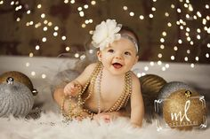 http://www.mlportraits.com - Kids Photography | Baby Girl Photo Session | Christmas | Lights | Bulbs | Fur | Beads | Holiday