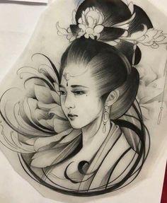Desenhos de Gueixas Facebook: Leandro Carlos Tattoo  Instagram: Leandro_Carlos_Tattoo #LeandroCarlosTattoo #Ideiasgueixas