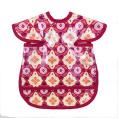 Boho Apron Bib  Our deluxe apron bibs are made with lead free, safe plastic. Use for babies 8 months to 24 months. Pocket catches excess drink and food. Apron bibs tie in the back. Not easy to tear off! They are approximately 14 wide and 16 tall. No shoulder wiping, plastic covered shoulders! Easy