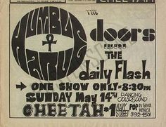 Original newspaper concert ad for The Doors at The Cheetah in LA.  Approx 11 x 9 inches. Original ad, not a photocopy or reproduction.