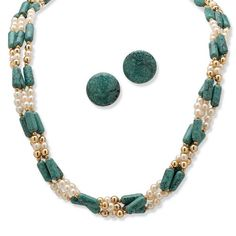 PalmBeach Jewelry Goldtone Simulated Turquoise Necklace and Clip-On Earring Set (bestseller)