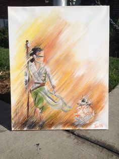 A Star Wars themed painting I created using acrylic paint and oil pastel! This is for sale on Etsy!