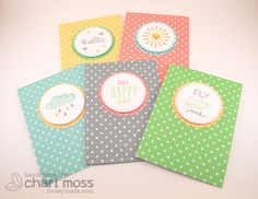 Lawn Fawn - Lawn Fawndamentals Notecards, Hello Sunshine, Circle and Scalloped Circle Stackables dies, Let's Polka 6x6 paper _ sweet CAS card set by Chari for Lawn Fawn Design Team, via Flickr