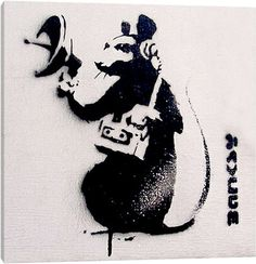 Spy Rat by Banksy is printed with premium inks for brilliant color and then hand-stretched over museum quality stretcher bars. Money Back Guarantee AND Free Return Shipping. Banksy Canvas Prints, Banksy Artwork, Banksy Rat, Banksy Graffiti, Banksy Stencil, Street Art Banksy, Plant Wallpaper, Silhouette Art, Street Artists