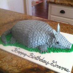 Armadillo birthday cake Armadillo Cake, Penguin Cakes, Sculpted Cakes, Animal Cakes, Wedding Rehearsal, Awesome Cakes, Wedding Desserts, Grooms, Birthday Cakes