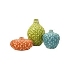 IMAX Home 25016-3 Agatha Ceramic Vases - Set of 3 Home Decor Vases (¥10,490) ❤ liked on Polyvore featuring home, home decor, vases, accents, ceramic vase and ceramic home decor