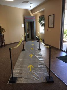 VBS Idea-Mad Scientist- you can use running lights or glow in the dark paint-VBS DecorationsGreat idea of tarp for floors with taped arrows for hall entranceLove this idea for the entrance to mission control!security entrance (picture only)the caution tap Vbs Themes, Party Themes, Party Ideas, Party Food Label Template, Airport Theme, Horse Birthday Parties, Holiday Club, Science Party, Travel Party
