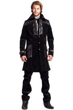 Lip Service Steampunk Coat, Step In Time Corduroy Coat, Black