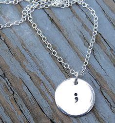 semicolon necklace semicolon charm semicolon by jewelryloveshoppe