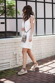 Little White Dress & Platform Espadrilles