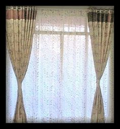Sheer with Bordered Main Curtains in floral pattern - Home Guru