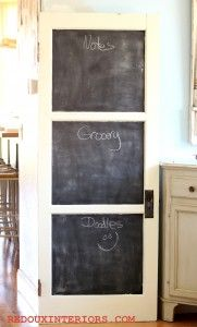 New use for Old Door. Upcycle it using CeCe Caldwell's paints in Vintage White and make it into a Chalkboard Memo Door. REDOUXINTERIORS FACEBOOK: REDOUX #cececaldwellspaints #cececaldwellsvintagewhite #cececaldwellsclearwax #ideasfordoors #redouxinteriors