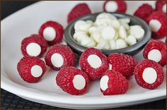 Raspberry Rockets.  Raspberries stuffed with white chocolate chips.  I'd probably make these with dark chocolate chips instead.