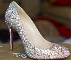 DIY Crystal wedding shoes (without bow clips)