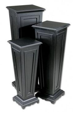 Black MDF Wood Plant Stand Column Pedestal Tables Flower Pot Holder ...