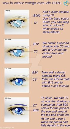 Tutorial COPIC, coloring manga eyes, blue version by Suki-Manga on DeviantArt