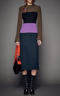 Color-Block Crepe Cady Midi Dress by Marni for Preorder on Moda Operandi