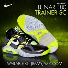 Available 1/31/14- Nike: Lunar 180 Trainer SC- Black/White/Volt #Jimmyjazz #trendingnow #Nike #Lunar #180 #trainer #Volt #IGSneakerCommunity #kicks jimmyjazz.com