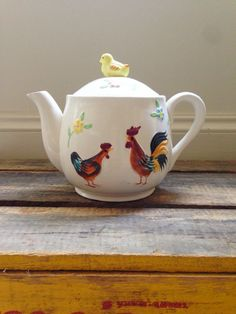 Enesco Teapot White with Hen and Rooster Detail by VintageHoopla