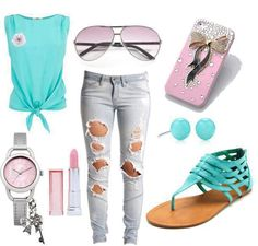 a cute outfit with ripped jeans strapless shirt open toed sandals some sunglasses a watch teal oval earrings a blinged up I-phone and PINK lipstick