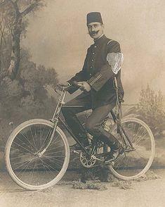 An Ottoman Policeman with Bicycle, Bir Osmanlı Bisikletli Polis, Turkish Military, Turkish Fashion, Ottoman Empire, Historical Pictures, Istanbul, Singapore, Egypt, Pakistan, History