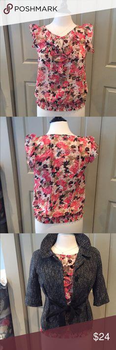 Floral express ruffle shirt xs Great layering shirt. Key hole ruffles. Has elastic waist Express Tops