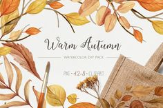 Warm Autumn. Watercolor DIY Pack by NataliVA on @creativemarket