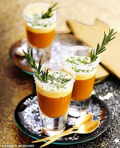 Roasted tomato and basil soup shots - Two-tone treats: Layering up these little shots of coup gives them an extra impact